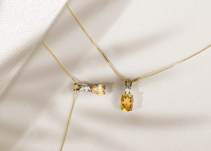 necklace with citrine madeira gemstone and small diamond in yellow gold - KLENOTA