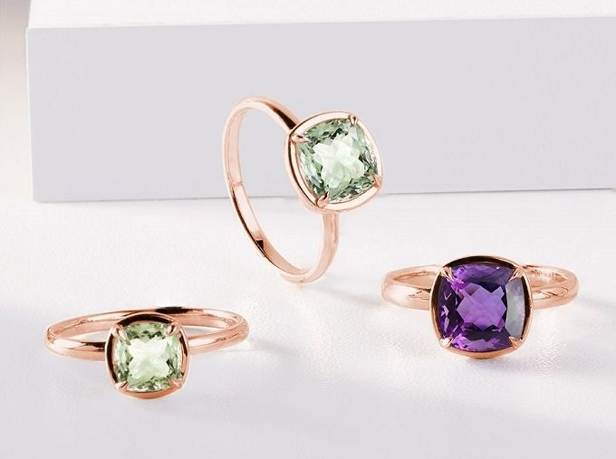 Rose gold rings with green and purple amethyst - KLENOTA