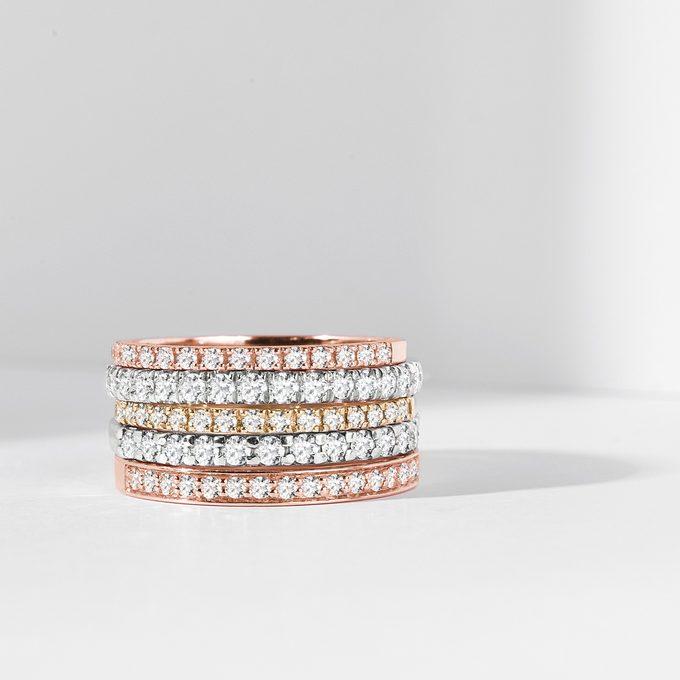 diamantové eternity prsteny KLENOTA - žluté, bílé, růžové zlato