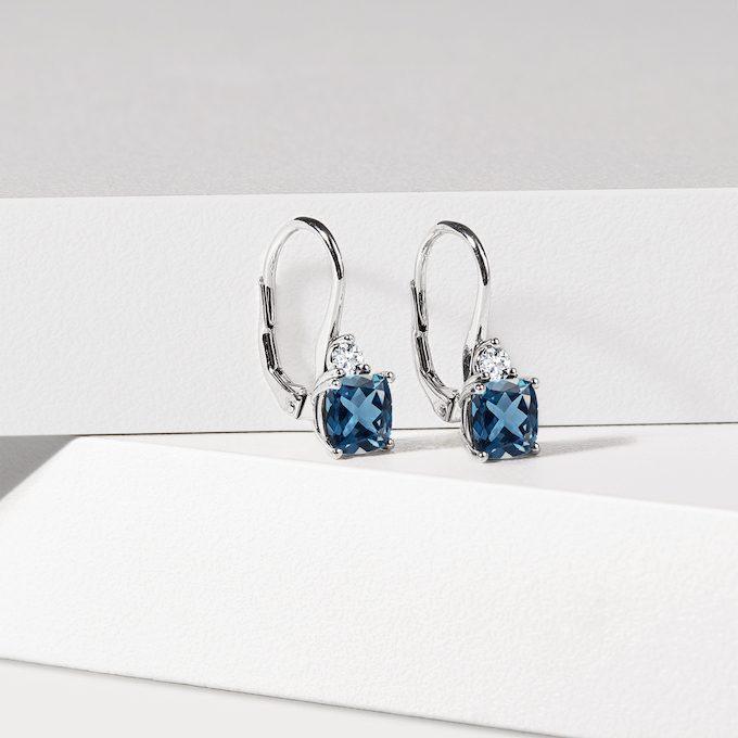 Ohrringe aus Weißgold mit Topas und Diamanten - KLENOTA
