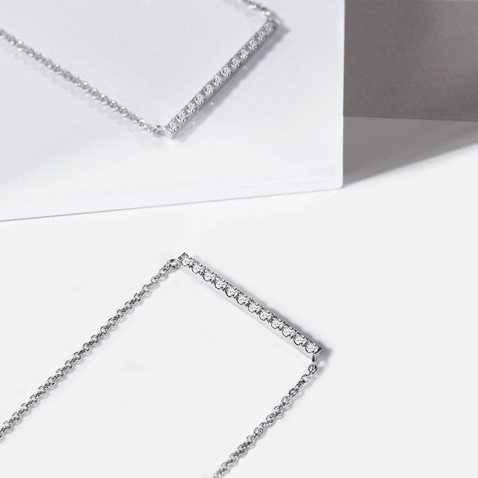 White gold necklace with diamonds, Rain collection - KLENOTA