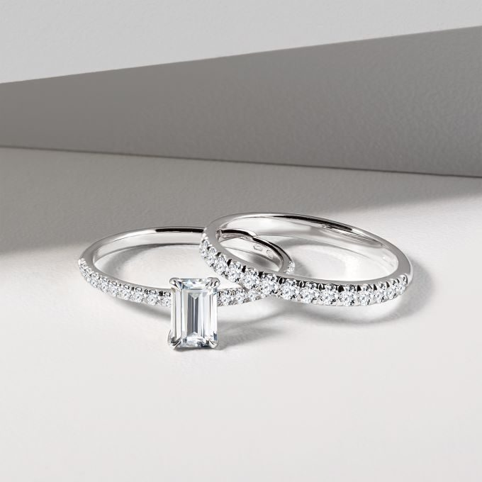 engagement and wedding ring with diamonds in white gold - KLENOTA