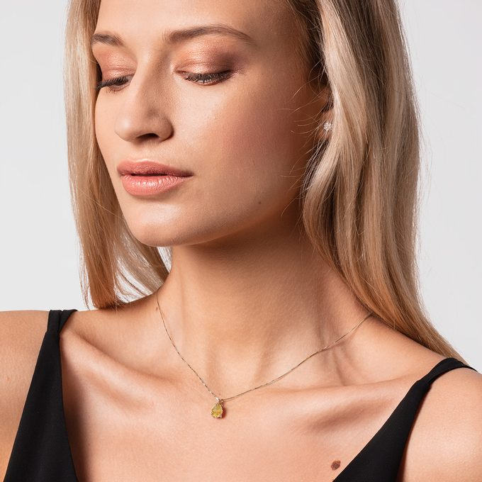citrine necklace made of yellow gold - KLENOTA