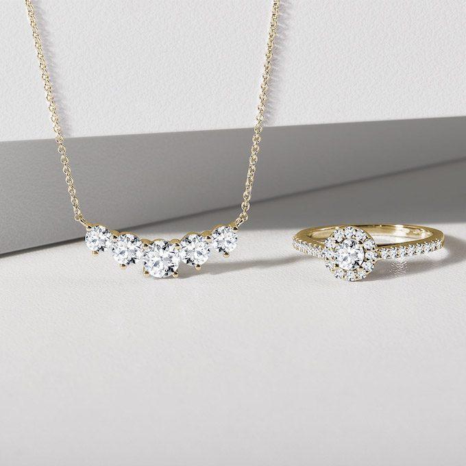 Halskette und Ring mit Diamanten aus Gelbgold - KLENOTA
