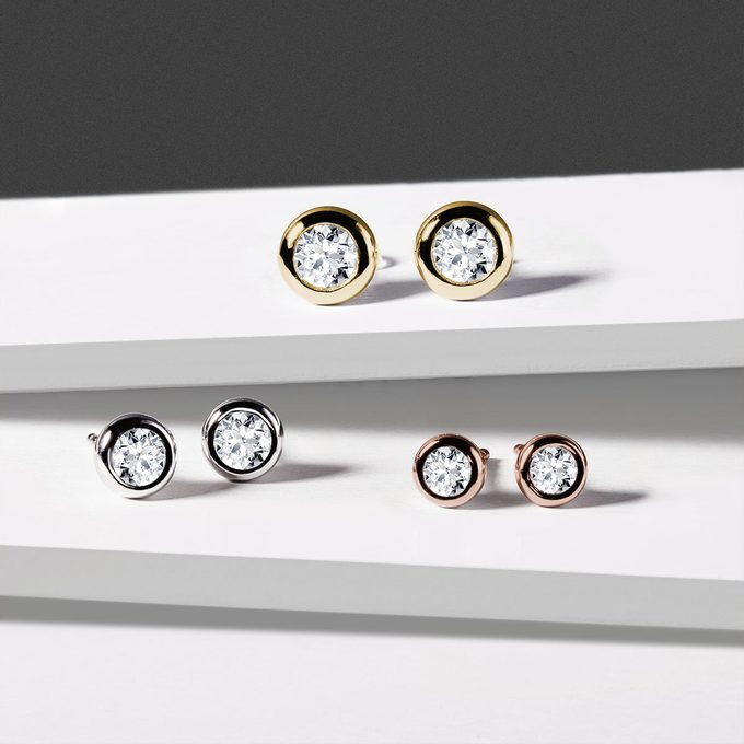 gold diamond stud earrings - KLENOTA