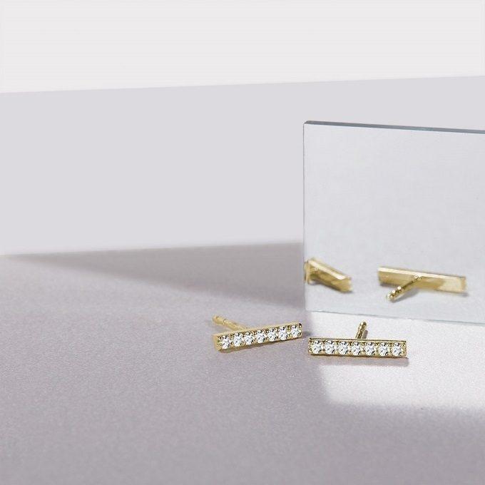 Złote kolczyki z diamentami z kolekcji Rain - KLENOTA