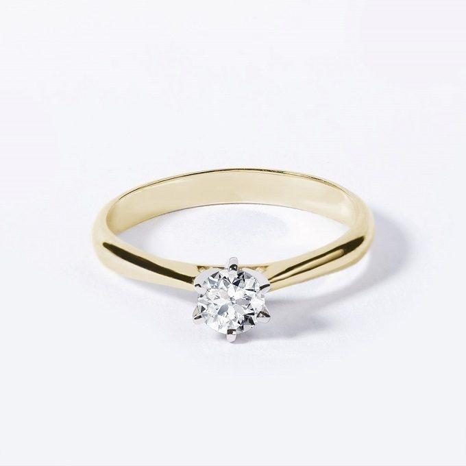 Pierścionek zaręczynowy z brylantem w białym i żółtym złocie - KLENOTA