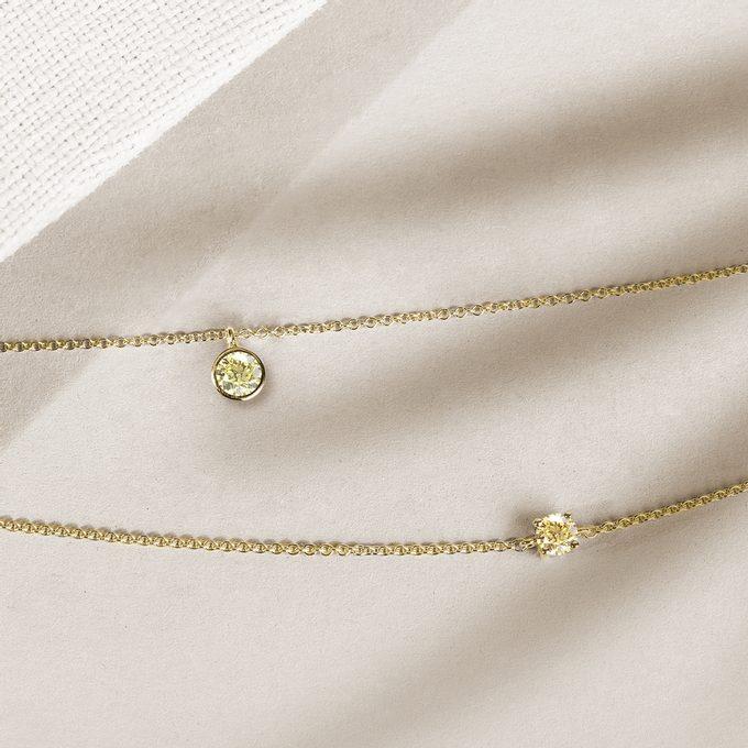 Yellow diamond necklaces in yellow gold - KLENOTA