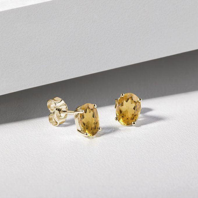 Citrine stud earrings in yellow gold - KLENOTA