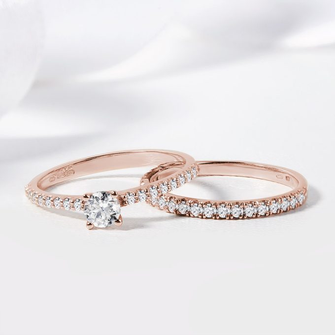Engagement and wedding ring with diamonds rose gold KLENOTA