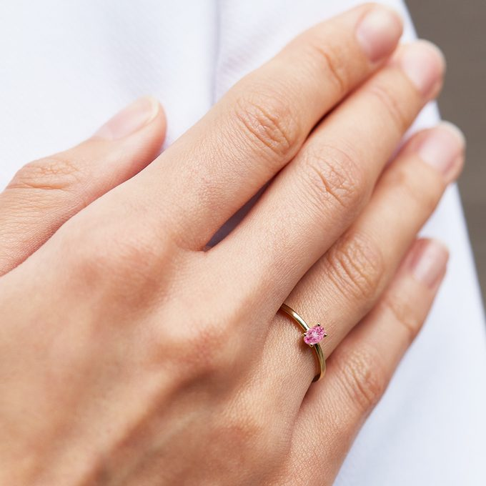 ring of pink gold with pink sapphire - KLENOTA