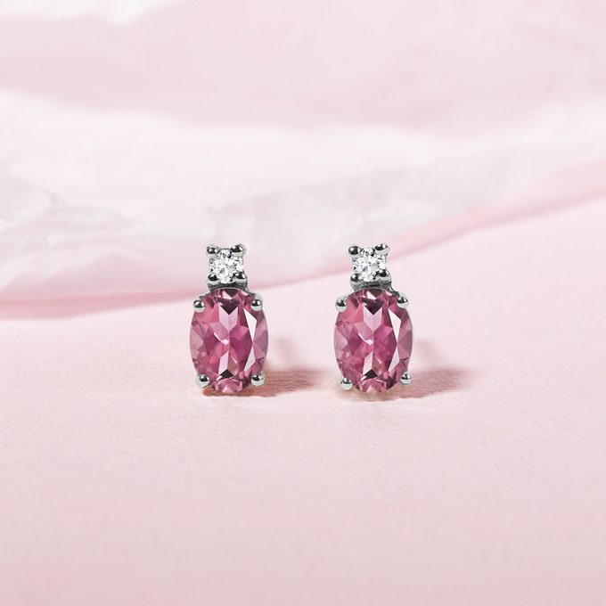 earrings with pink sapphire and diamond in white gold - KLENOTA