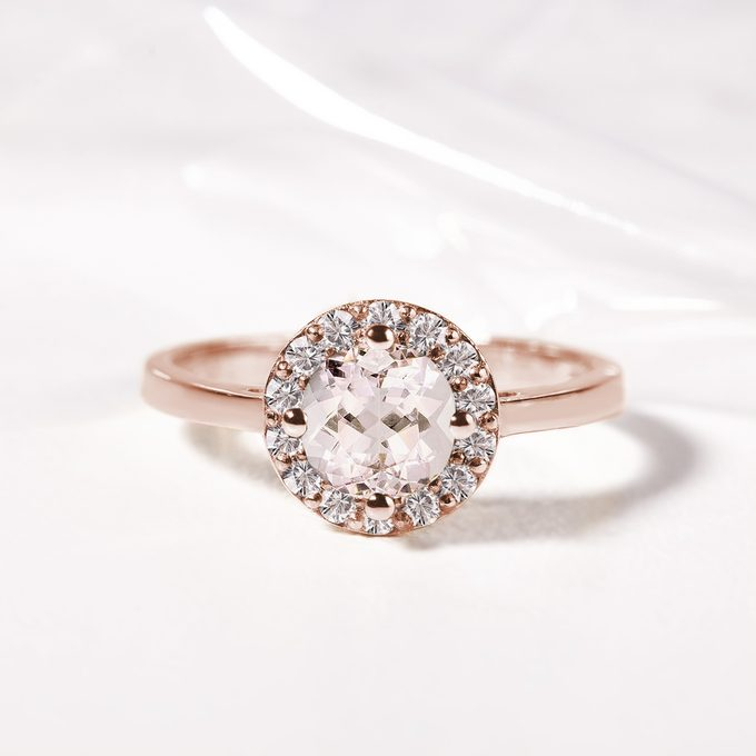 morganite ring with diamonds in pink gold - KLENOTA