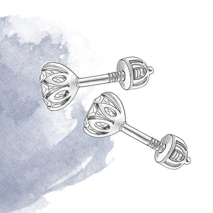 Earrings fastening, type screw - KLENOTA