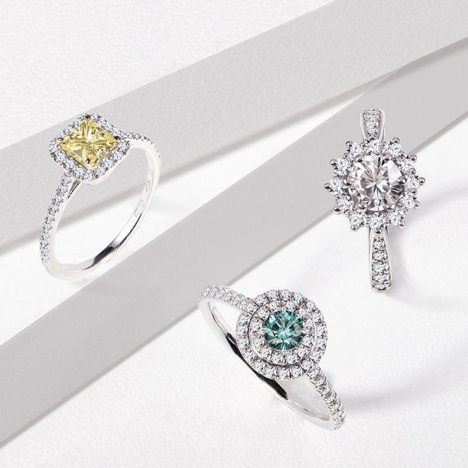 Zásnubné prstene s farebnými diamantmi v bielom zlate - KLENOTA
