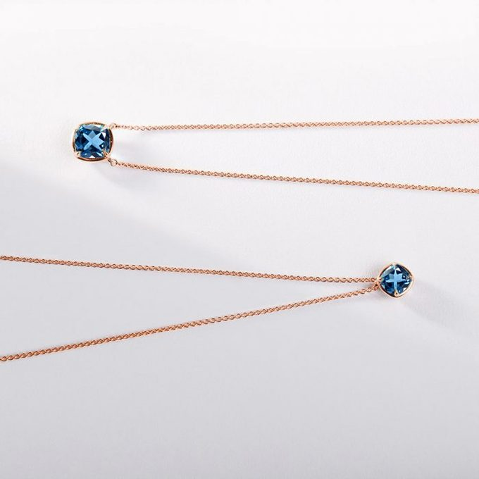 necklace with topaz in yellow gold - KLENOTA