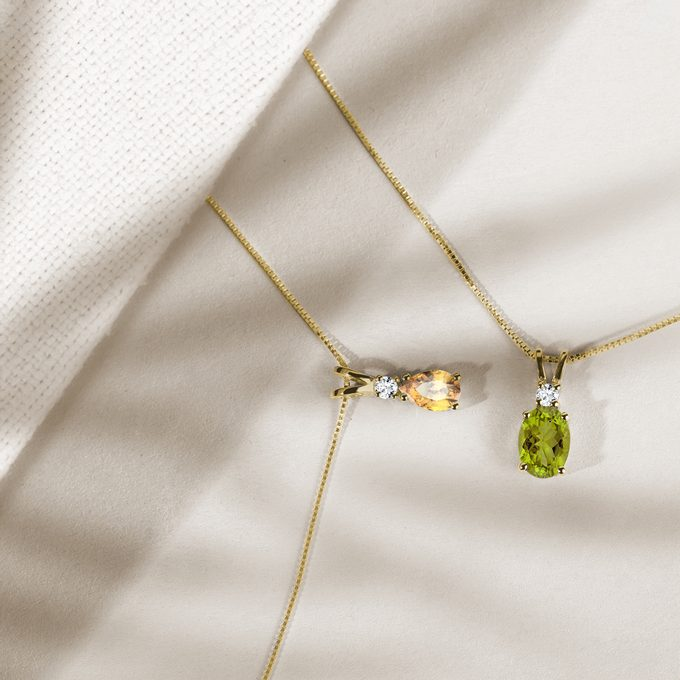 Necklace with citrine and olivine in yellow gold - KLENOTA