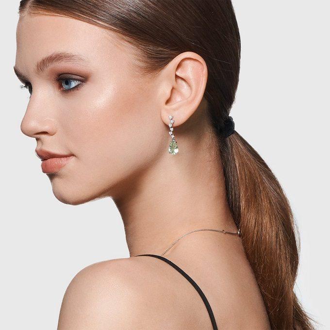 Boucles d'oreilles en or blanc avec améthyste verte et diamants - KLENOTA