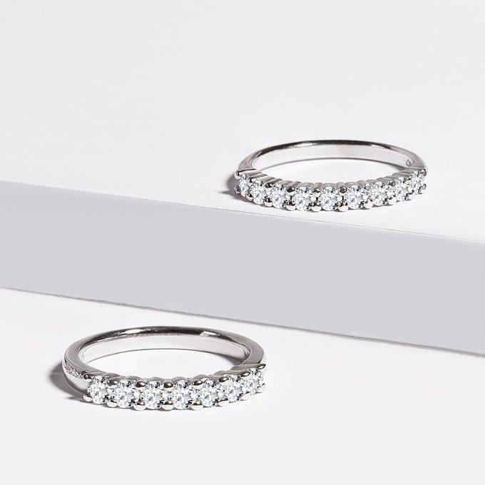 diamantové half eternity prsteny bílé zlato - KLENOTA