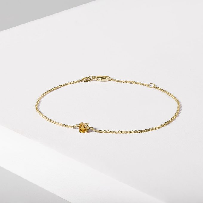 Bracelet with citrine in yellow gold - KLENOTA