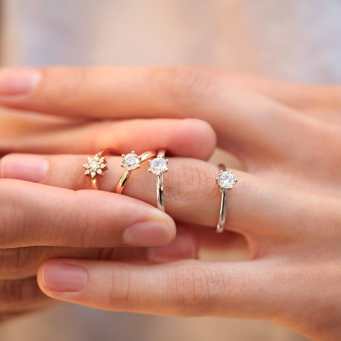 diamond engagement rings white, yellow, rose gold - KLENOTA