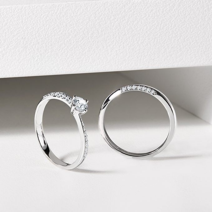 engagement and wedding ring with diamonds white gold - KLENOTA