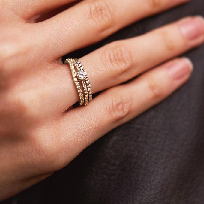 Ewigkeit Diamant Eheringe Weiß, Rosa, Gelbgold - KLENOTA