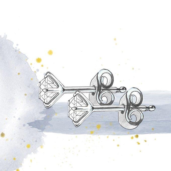 Earrings fastening, type push - KLENOTA