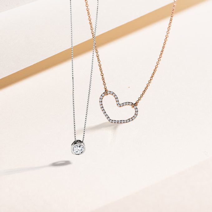 Zlatý diamantový prívesok srdce a retiazka s diamantom - KLENOTA
