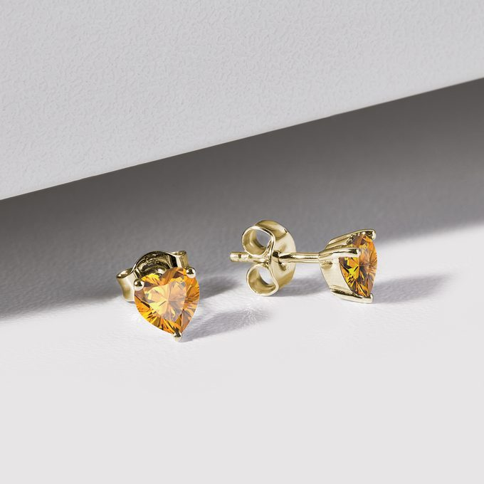 Citrine earrings in yellow 14k gold - KLENOTA