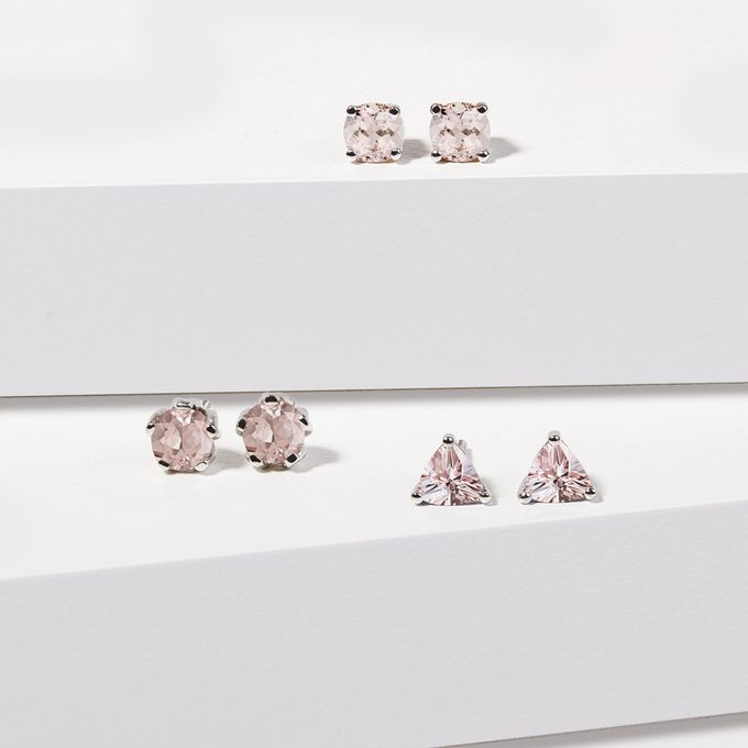 morganite earrings in white gold - KLENOTA