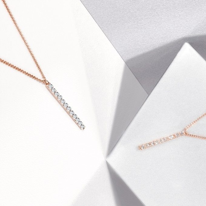 Rose gold necklace with diamonds, Rain collection - KLENOTA