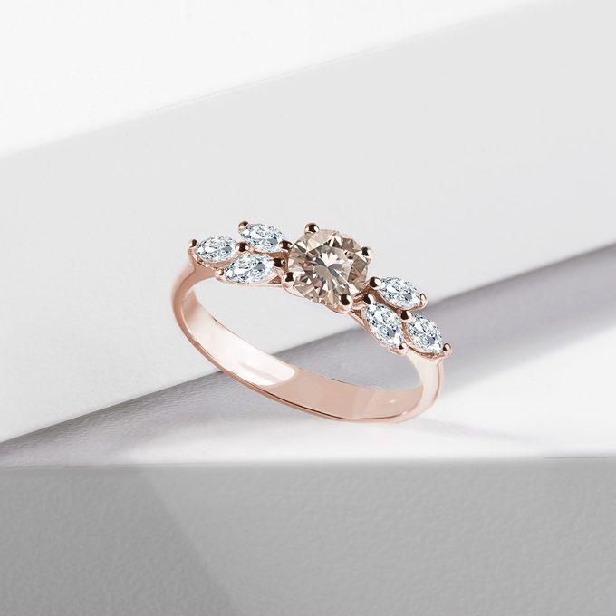 prsteň s champagne diamantom v ružovom zlate - KLENOTA