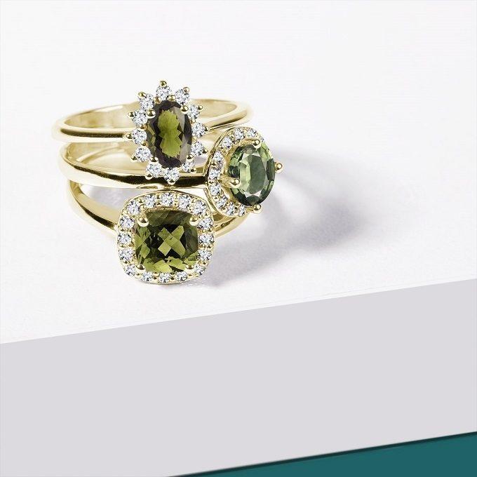 Yellow gold rings with moldavites and diamonds - KLENOTA