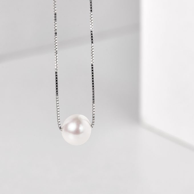 white gold chain with pearl - KLENOTA