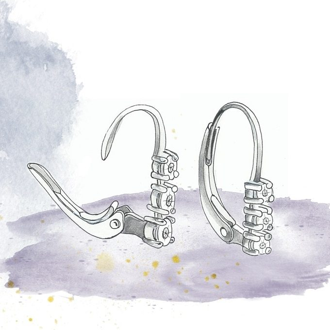 Earrings fastening, type lever back / ladies patent - KLENOTA