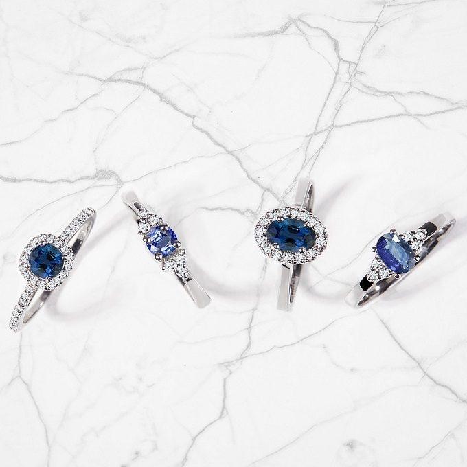 Prstene z bieleho zlata so zafírmi a diamantmi - KLENOTA