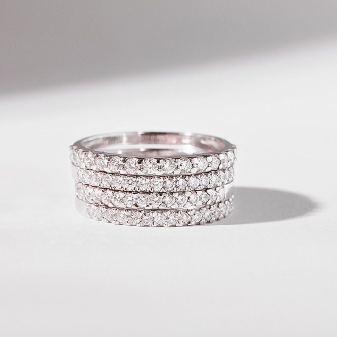 Rhodium plated white gold rings with diamonds - KLENOTA