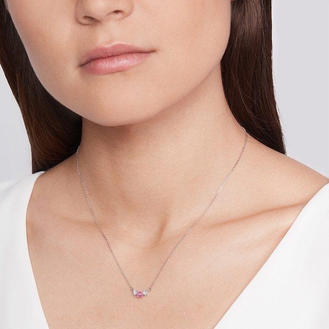 Naszyjnik z białego złota z różowym szafirem i brylantami - KLENOTA