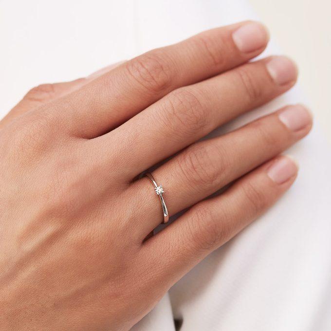prsteň z bieleho zlata s diamantom - KLENOTA