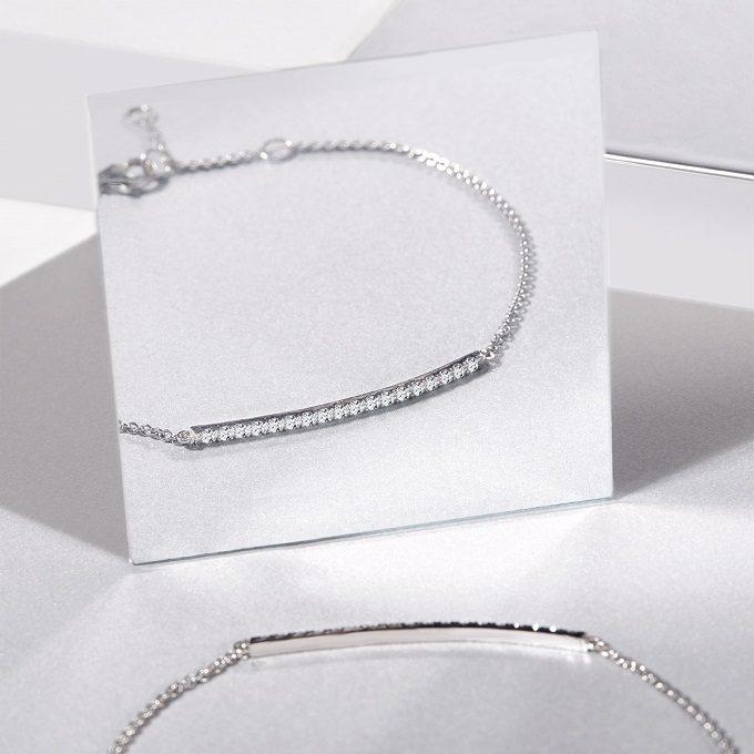 White gold bracelet with diamonds, Rain collection - KLENOTA