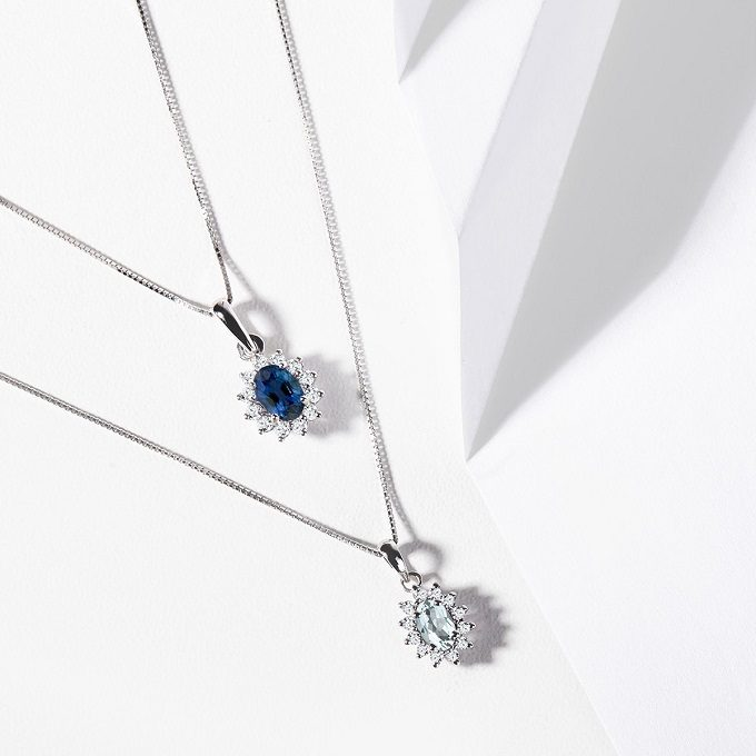 Necklaces made of white gold with sapphire, aquamarine and diamonds - KLENOTA