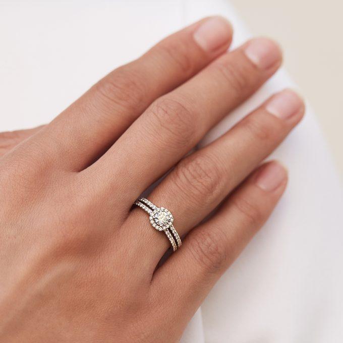 diamantový prsteň v bielom zlate - KLENOTA