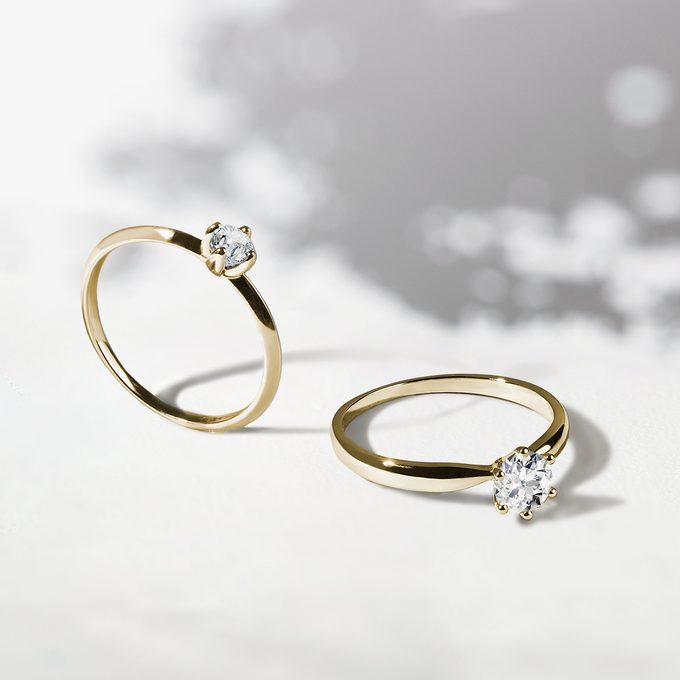 Zásnubní prsteny ve žlutém zlatě v briliantovém výbrusu - KLENOTA