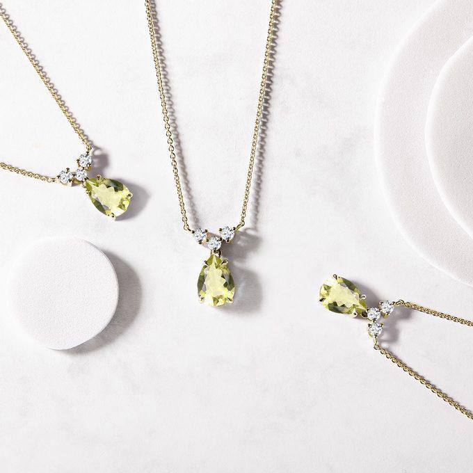 gold necklaces with gemstone lemon quartz - KLENOTA