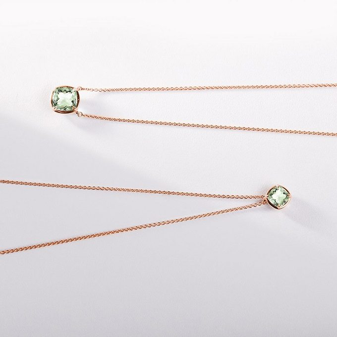 Rose gold necklaces with green amethyst - KLENOTA