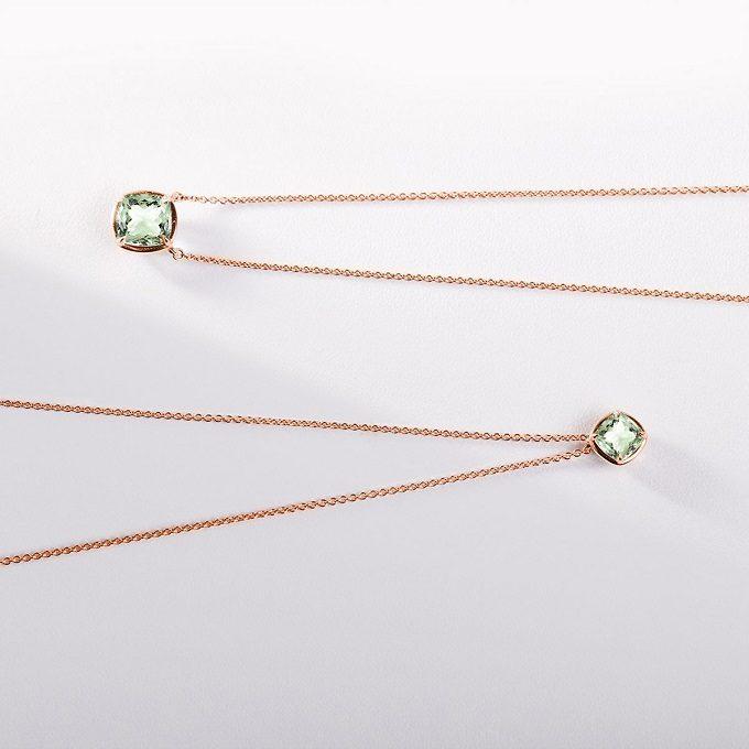 Colliers avec améthyste verte en or rose - KLENOTA