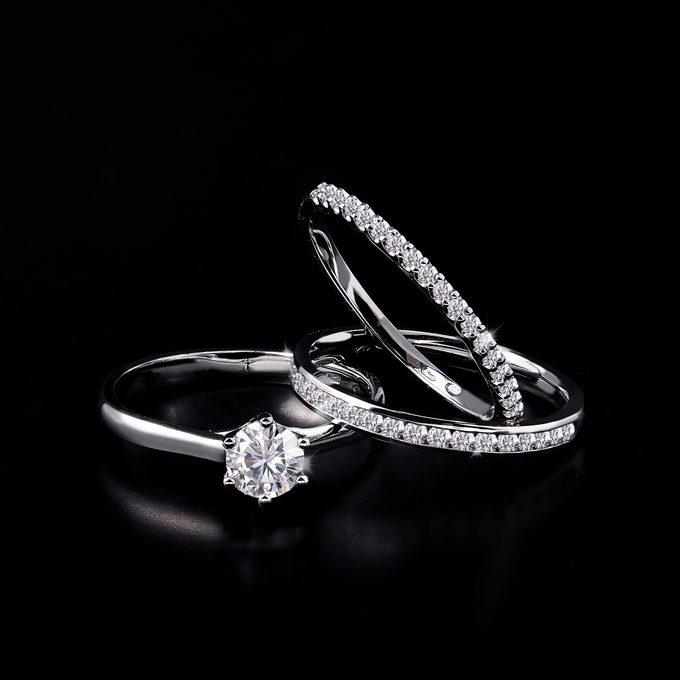 luksusowe pierścionki z białego złota z brylantami - KLENOTA