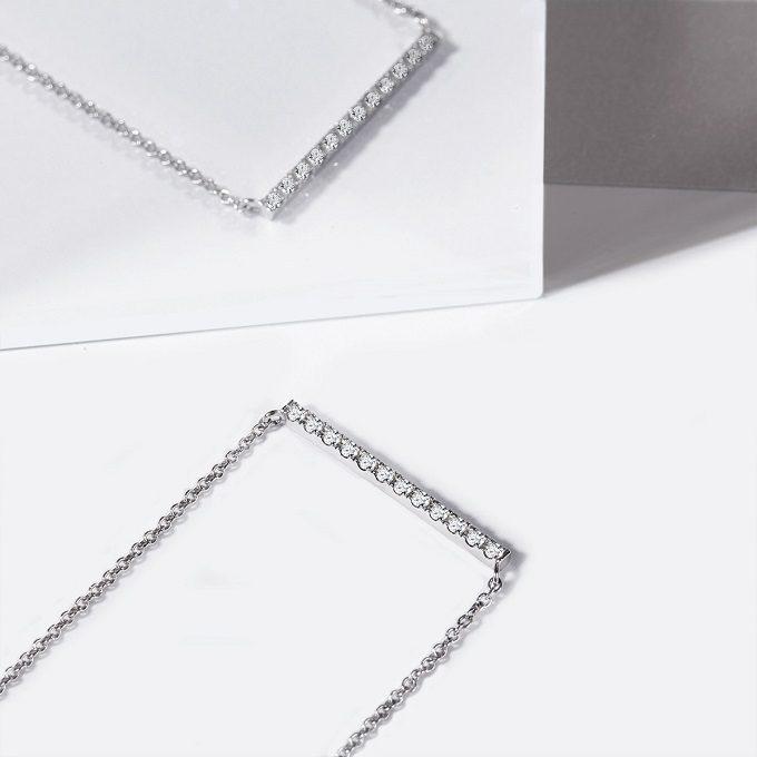 Naszyjnik z białego złota z brylantami z kolekcji Rain - KLENOTA