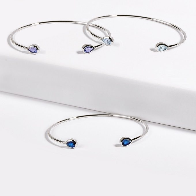 White gold flexi cuff bracelets with gemstones - KLENOTA